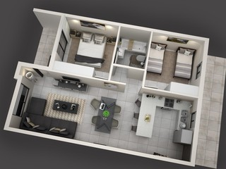 2 Bedroom unit - view 1